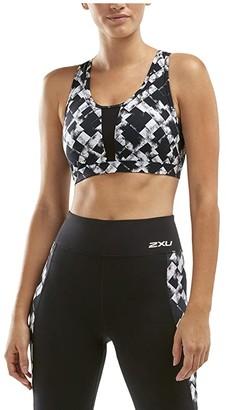 2XU Perform Medium Impact Crop (Textured Check/Silver) Women's Sleeveless