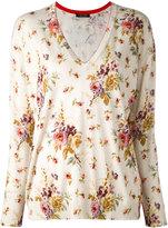 Twin-Set floral v-neck sweater - women - Cotton/Viscose - S