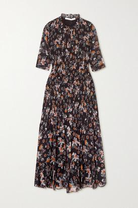 Veronica Beard Gabi Shirred Floral-print Chiffon Midi Dress - Black