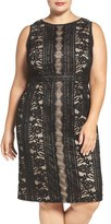 Adrianna Papell Plus Size Women's Adriannal Papell Stripe Embroidered Lace Sheath Dress