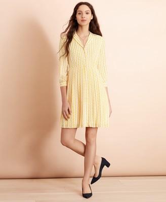 Brooks Brothers Polka-Dot Crepe Shirt Dress