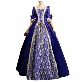 Moent Women Clothes Moent Womens Gothic Vintage A- Line Half Sleeve Long Dress Ladies Steampunk Retro Court Princess Lace Dress Blue