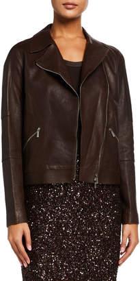 Lafayette 148 New York Luscious Lambskin Leather Moto Jacket