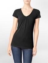 Calvin Klein Gathered V-Neck Slub T-Shirt