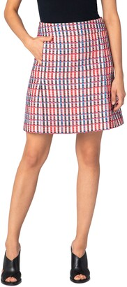 Akris Punto Check Cotton Blend Skirt