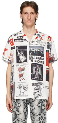 Wacko Maria White and Multicolor Rage Against The Machine Edition Hawaiian Shirt