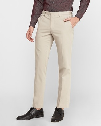 Express Extra Slim Khaki Cotton-Blend Performance Stretch Suit Pant