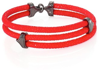 Stinghd Blackened Silver & Stingray Triangle Wrap Bracelet