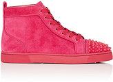 Christian Louboutin Men's Lou Spikes Orlato Flat Suede Sneakers-FUSCHIA