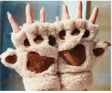 OKDEALS Cute Hand Warmer Mitten Fuzzy Half Finger Gloves Thick Bear's Paw Furry Mitts
