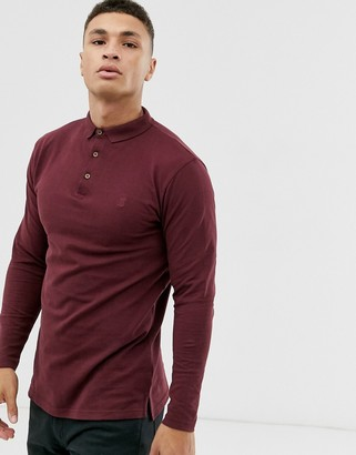 Soul Star fitted jersey long sleeve polo in burgundy-Red