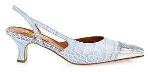 Paris Texas Women's Croc-Embossed Leather Cap-Toe Slingbacks