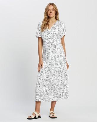 Angel Maternity Women's White Midi Dresses - Long Polka Dot Dress - Size One Size, XS at The Iconic