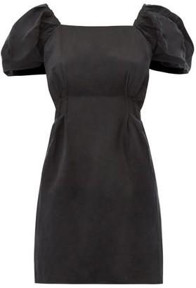 Sir - Inez Scoop-back Linen-blend Mini Dress - Womens - Black