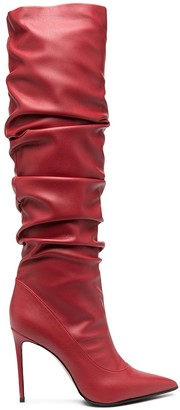 Le Silla Ruched Knee-Length Leather Boots