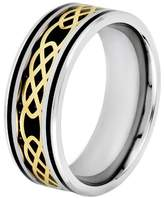 Celtic Crucible Men's Goldplated Steel Carbon Fiber and Knot Band - Black