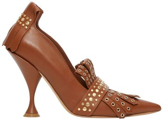 Burberry Studded Kiltie Fringe Leather Point-toe Pumps