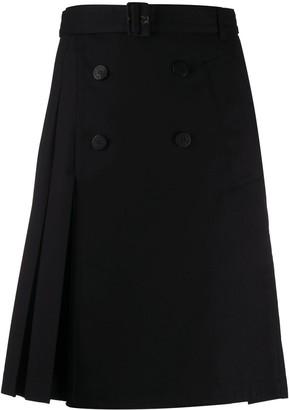 Neil Barrett Pleated Button-Detail Skirt