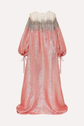 Oscar de la Renta Embellished Silk-lame And Tulle Gown - Pink
