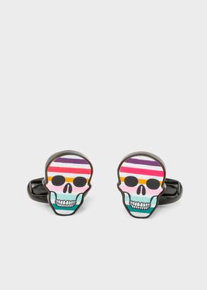 Paul Smith Multi-Coloured Stripe 'Skull' Cufflinks