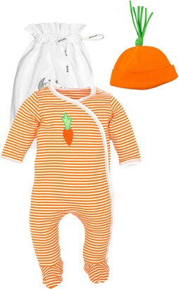 Under the Nile Carrot Stripe Organic Egyptian Cotton Footie & Hat Set