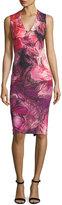 Fuzzi V-Neck Floral-Print Ponté Dress