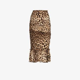 Dolce & Gabbana leopard print silk pencil skirt