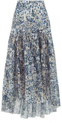 Marios Schwab Kaupoa Floral-print Banded Cotton-poplin Skirt - Blue Print