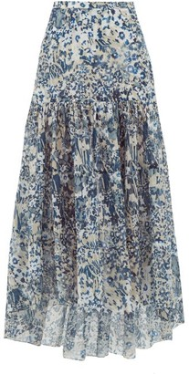 Marios Schwab On The Island By Kaupoa Floral-print Banded Cotton-poplin Skirt - Womens - Blue Print