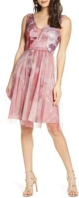 Chi Chi London Narlee Satin & Mesh Cocktail Dress
