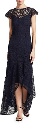 ML Monique Lhuillier High-Low Ruffle Lace Gown