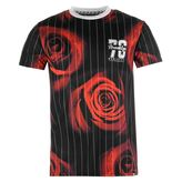 Fabric Pinstripe Rose T Shirt Mens