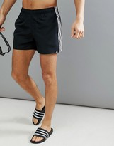 adidas swim shorts with stripes in black cv5137