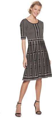Nina Leonard Women's Geometric Fit & Flare Sweater Dress