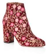 Aquazzura Floral Embroidered Block Booties