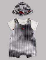 Marks and Spencer 3 Piece Bodysuit & Dungarees with Hat Outfit