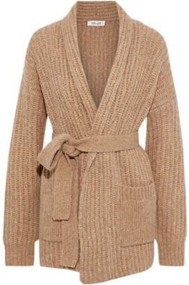 Diane von Furstenberg Belted Ribbed-knit Cardigan