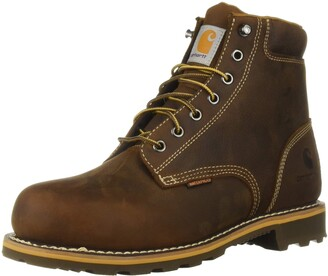 Carhartt Men's 6 Inch Plain Lug Bottom Soft Toe Industrial Boot Brown Oil Tanned Leather. 8 M US