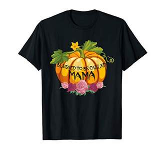 Womens Blessed To Be Called Mama Pumpkin Halloween Tshirt