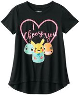 "Freeze Girls 7-16 Pokémon Pikachu, Charmander, Squirtle & Bulbasaur ""I Choose You"" Glitter Graphic Tee"