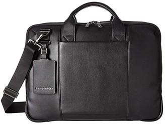 Briggs & Riley @Work Leather Medium Brief (Black) Briefcase Bags