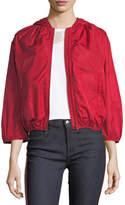 RED Valentino Hooded Taffeta Tech Bomber Jacket