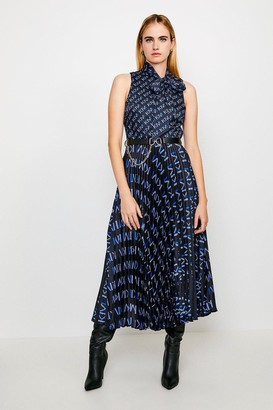 Karen Millen Logo Tie Neck Pleat Midi Dress