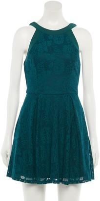 Speechless Juniors' Allover Lace Skater Dress