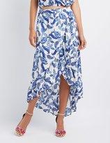 Charlotte Russe Paisley Ruffle-Trim Wrap Maxi Skirt