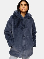 Topshop Knight Faux Fur Hooded Coat - Blue