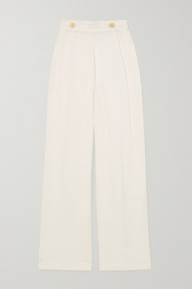 Le Kasha Net Sustain X Lg Electronics Pleated Organic Linen-gauze Wide-leg Pants - Off-white