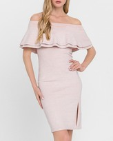 Express Endless Rose Off The Shoulder Ruffle Knit Midi Dress