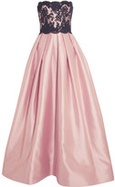 Reem Acra - Strapless Silk-blend And Lace Gown - Baby pink