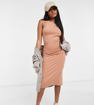 Outrageous Fortune Petite exclusive racer back midi dress in camel